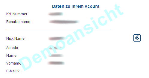 Demobild Account Daten